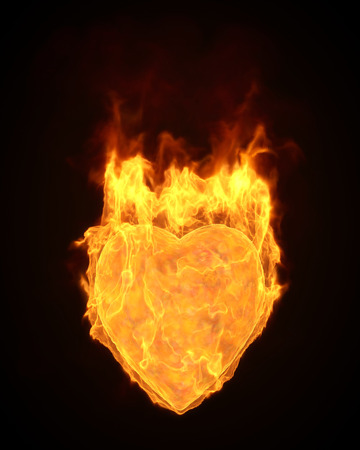 flamed: 3d flamed heart shapel.computer simulation Stock Photo