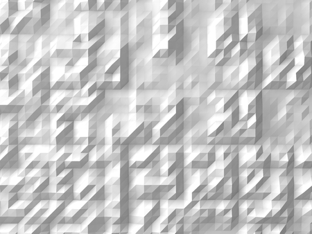 subdivided: white abstract background. (randomly generated 3d forms on surface)