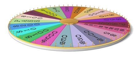 wheel of fortune: wheel of luck. thin and golden body version. Stock Photo