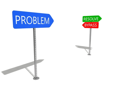 resolving: resolving progblem. 3d road signs with simple text. Stock Photo