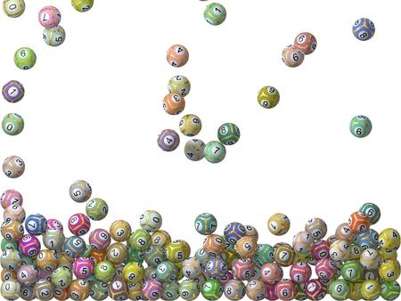 millionaire: 3d lottery balls rain.filling screen. balls with stripes Stock Photo