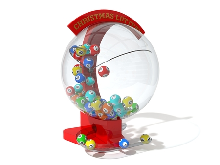 Christmas lottery. red machine and standart balls version. right side view. Archivio Fotografico
