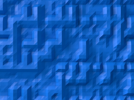 subdivided: blue abstract background. (randomly generated 3d forms on surface)
