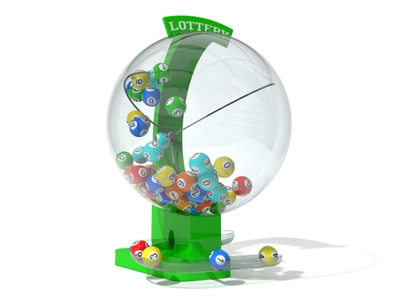 lottery win: Christmas lottery. green machine and standart balls version. right side view.