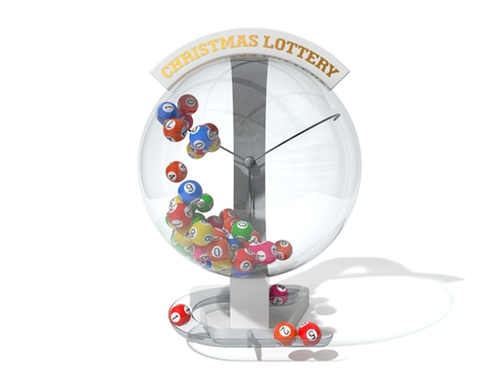 hype: Christmas lottery. white machine and standart balls version. front view Stock Photo