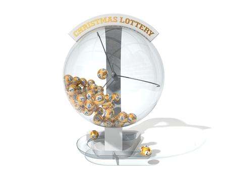 Weihnachtslotterie. weiße Maschine und goldenen Kugeln Version. Standard-Bild - 50475701