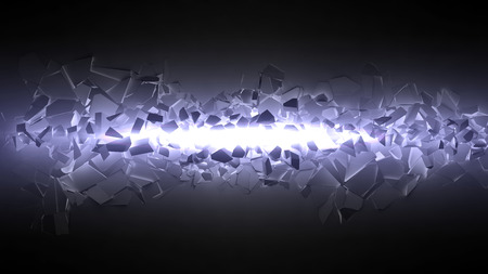 exploding wall with light beam. wide beam.