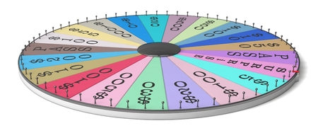 spin: wheel of luck. thin and chrome body version. Stock Photo