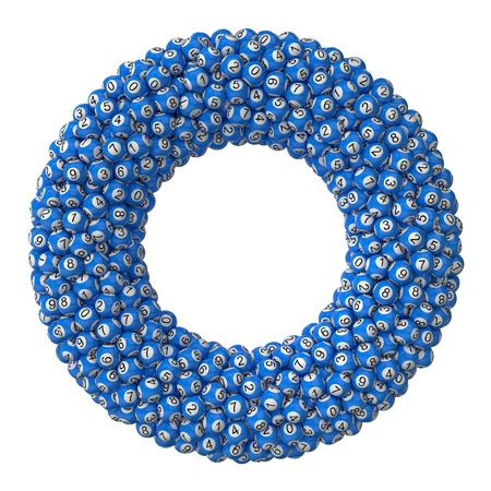 hype: 3d lotery balls stack.isolated on white.blue colored balls. torus formed stack version.