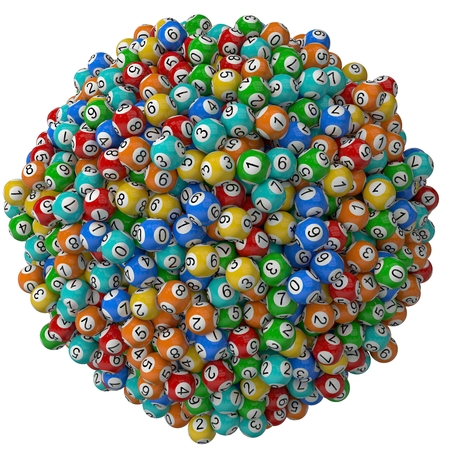 hype: 3d lotery balls stack.isolated on white. random colored balls. big stack version.
