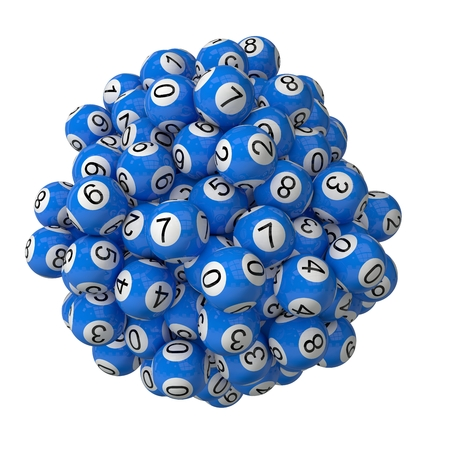 whiteblue: 3d lotery balls stack.isolated on white.blue colored balls.