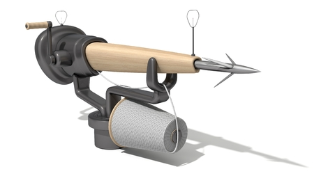 spearfishing: 3d harpoon cannon design. wooded version. isolated on white.