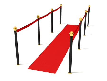 stanchion: Simple red road with barrier. isolated on white. Stock Photo