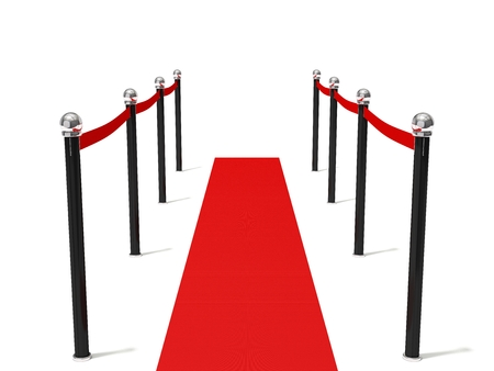 red barrier velvet: Simple red road with barrier. isolated on white. Stock Photo