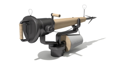 harpoon: 3d harpoon cannon design. wooded version. isolated on white.