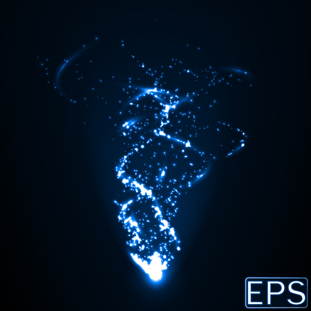 energy beam with particles and addional smoot energy trails. blue version.
