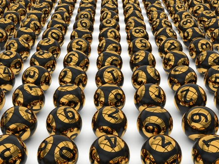 sorted: sorted lottery balls, black and golden version.