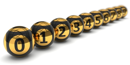 lottery win: set of  lottery balls with depth of field effect.