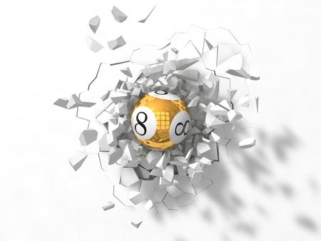 de gran alcance de la lotería golpeará la bola Foto de archivo