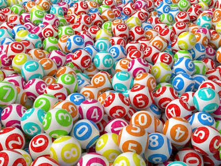 lottery win: stack of lottery balls. random colored version.