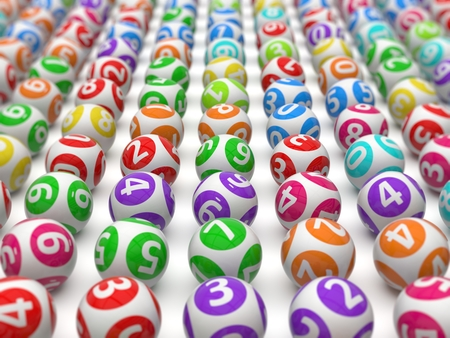 sorted: sorted lottery balls with depth of field effect. Stock Photo