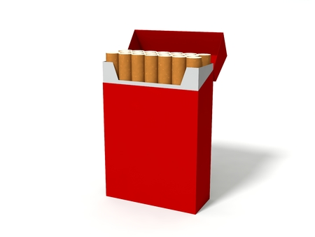 tobacco product: red cigarette box package. isolated on white Stock Photo