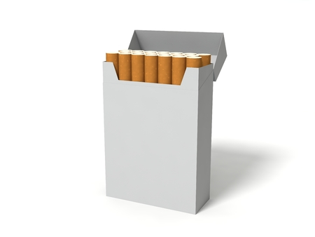 toxic product: white cigarette box package. isolated on white