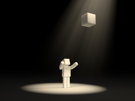 cubic: cubic character and sacred cube under light rays.