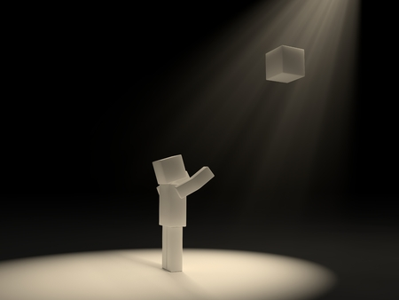 sorted: cubic character and sacred cube under light rays.