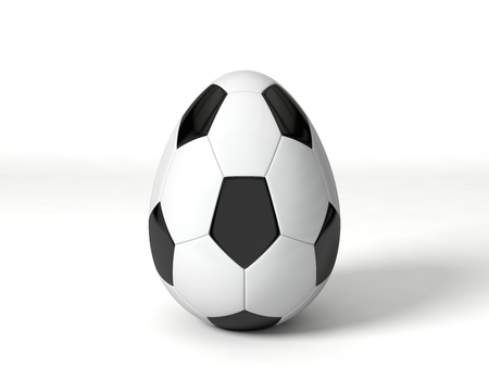 egg shaped: easter egg shaped soccer ball. isolated on white.