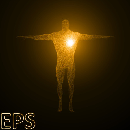 conceptual illustration of heart power. powerful energy beam effect with tangled energy lines, golden color and body builder version. Illustration