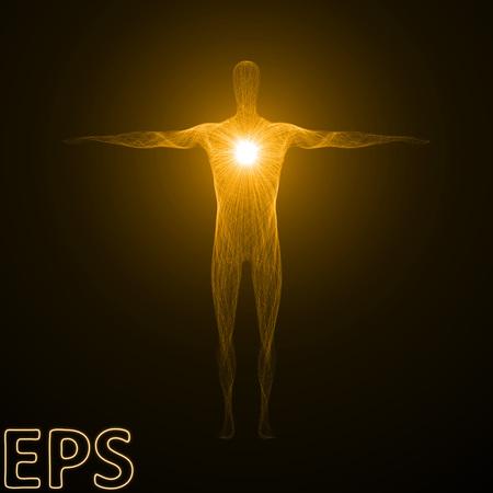 精神的なエネルギーの概念図。男性の体のフォームとして形強力なエネルギービーム。黄金色のバージョン。
