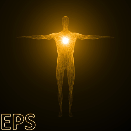 conceptual illustration of spiritual energy. powerful energy beam shaped as male body form. golden color version.