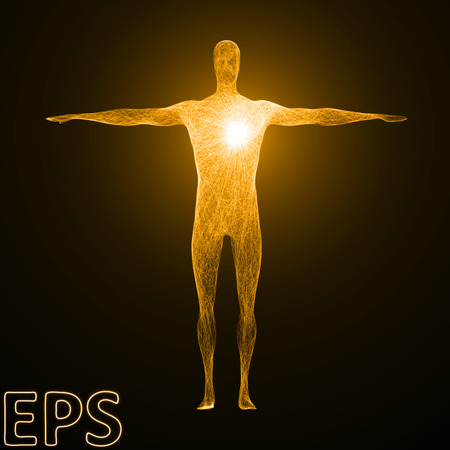 godlike: conceptual illustration of heart power. powerful energy beam effect with tangled energy lines, golden color and male body version.