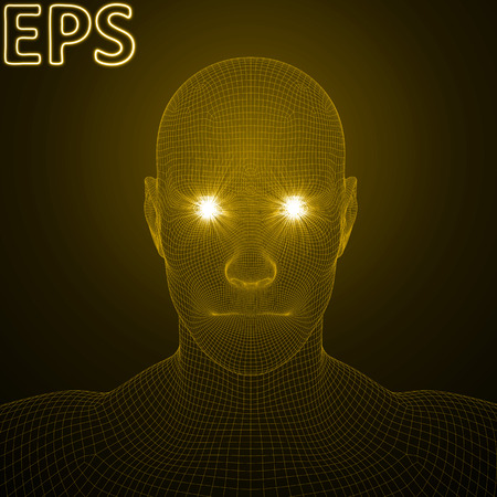 conceptual illustration of spiritual energy. powerful energy beams at eyes of wireframe human head. golden color version.