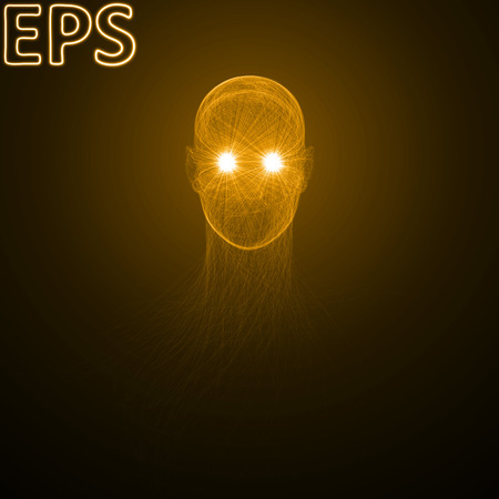 conceptual illustration of spiritual energy. powerful energy beams at eyes. golden color version.