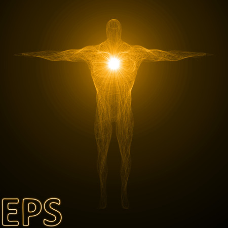 godlike: conceptual illustration of spiritual energy. powerful energy beam shaped as body builder male body form. golden color version. Illustration