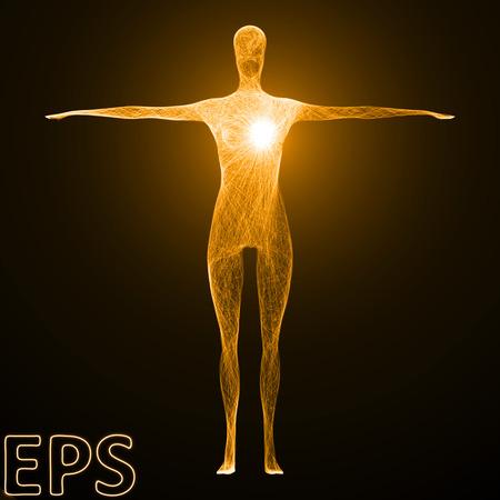 心の電源の概念図。強力なエネルギーは、もつれたエネルギー ライン、黄金色と女性の身体のバージョン影響をビームします。