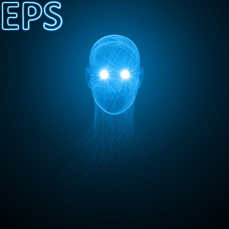 conceptual illustration of spiritual energy. powerful energy beams at eyes. blue version.