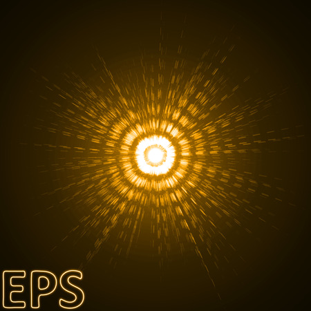 sacred source: energy beam with pulse effect. golden color version. Illustration