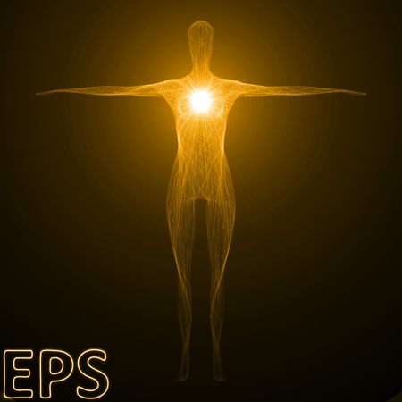 conceptual illustration of spiritual energy. powerful energy beam shaped as female body form. golden color version.