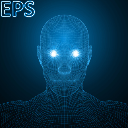 conceptual illustration of spiritual energy. powerful energy beams at eyes of wireframe human head. blue version.