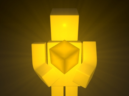 simple 3d cubic character and sacred cube on his hand. Stock Photo