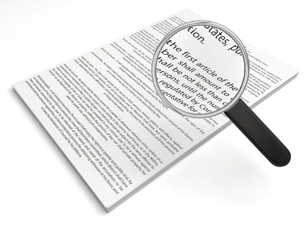 bill of rights: The first amendment papers. loupe on first article. (with readable text)