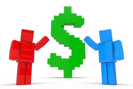 cubic: simple 3d cubic characters showing dollar symbol. financial advisory concept. Stock Photo