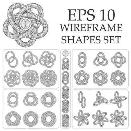 tangled: wireframe abstract shapes with tangled rings.