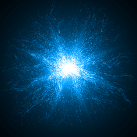 explosion with particles and light beam.