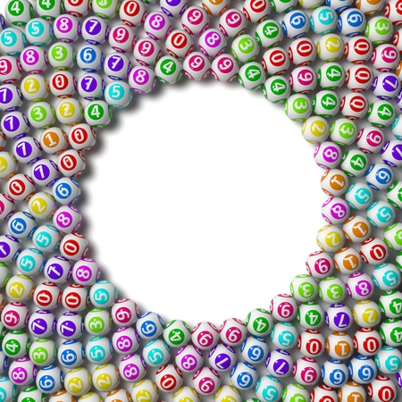 sorted: 3d illustration of lottery balls. circular sorted on white ground.