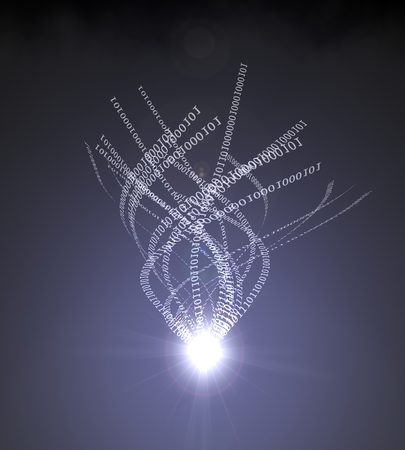 light source: computer codes extraction with light beam. Stock Photo