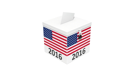 3d illustration of simple vote box with america flag. isolated on white.